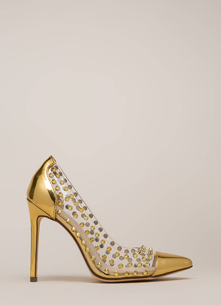 Spike It Rich Pointy Clear Pumps GOLD