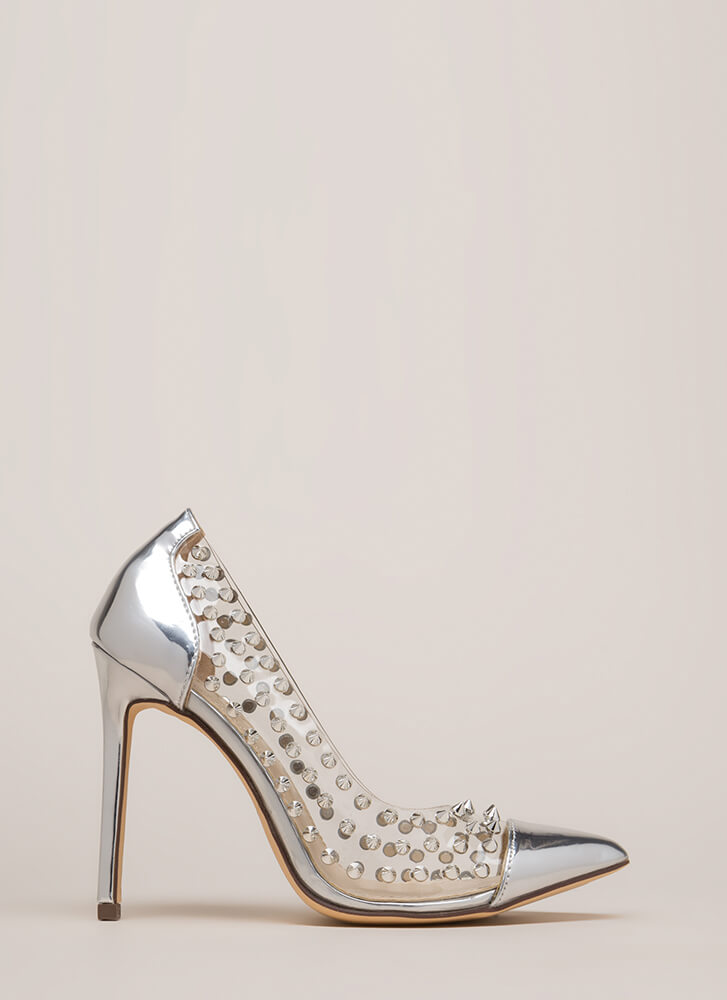 Spike It Rich Pointy Clear Pumps SILVER