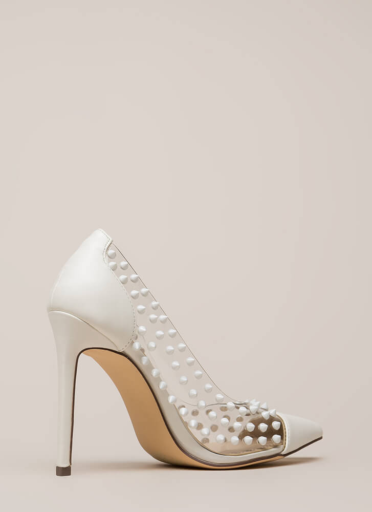 Spike It Rich Pointy Clear Pumps WHITE