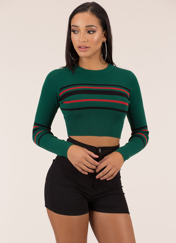 Something Striped Cropped Knit Sweater GREEN
