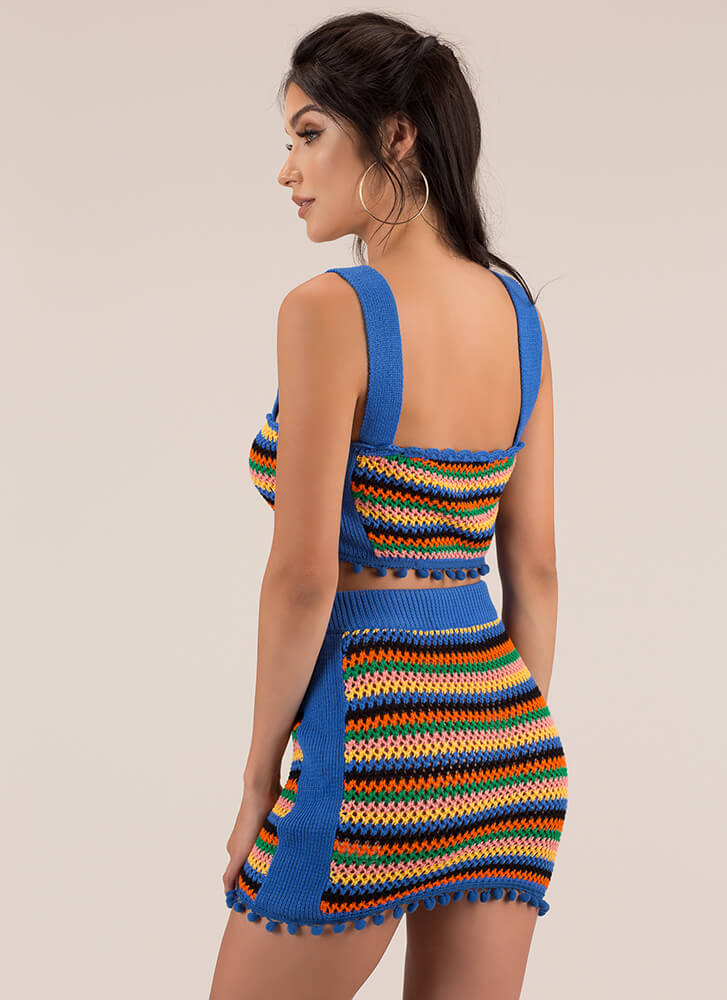 Knit's A Party Striped Top And Skirt Set BLUE
