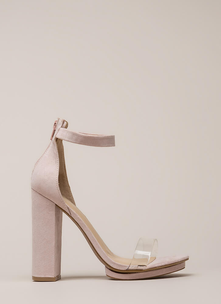 Hey Slim Chunky Faux Suede Platforms NUDE