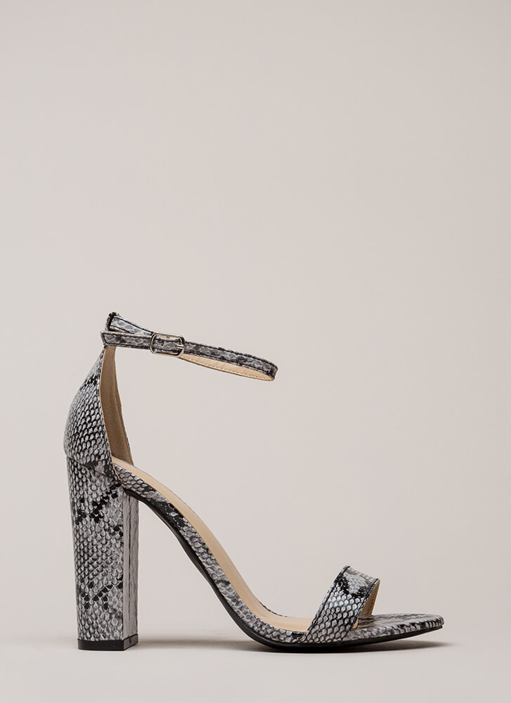 Snake Things Up Chunky Ankle Strap Heels SNAKE