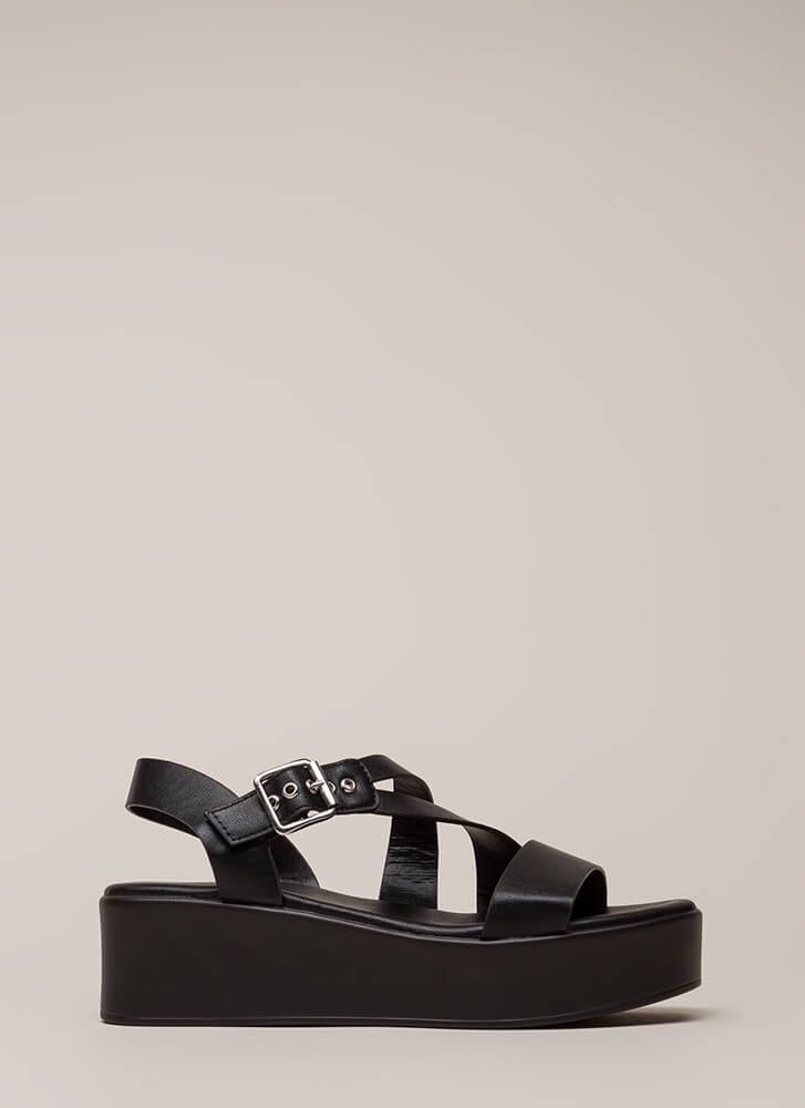Added Bonus Strappy Wedge Sandals BLACK