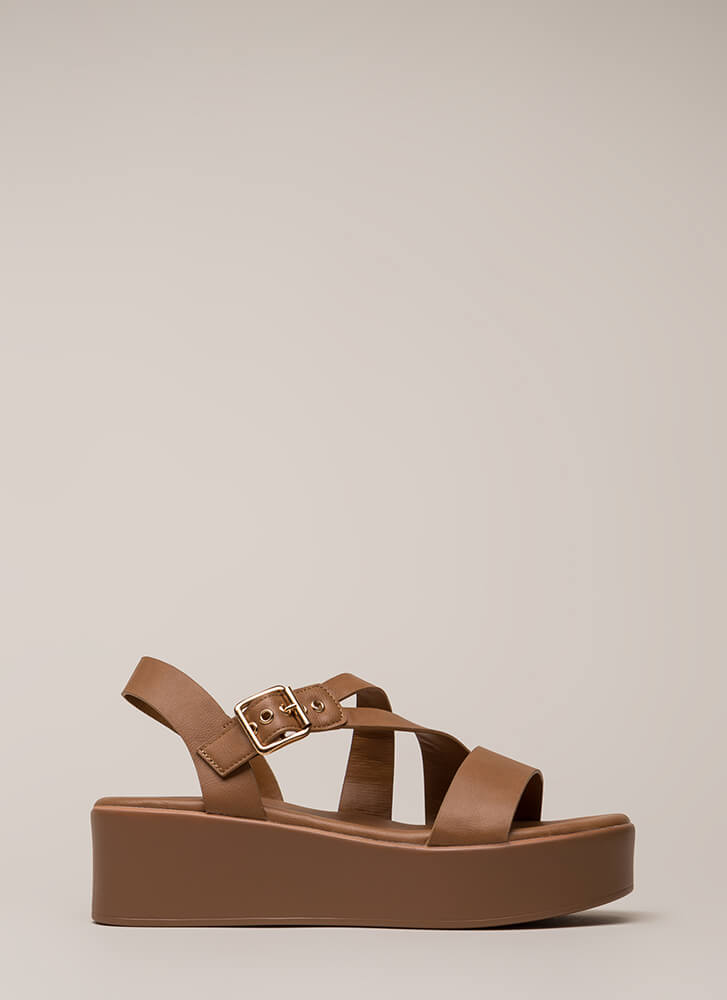 Added Bonus Strappy Wedge Sandals TAN