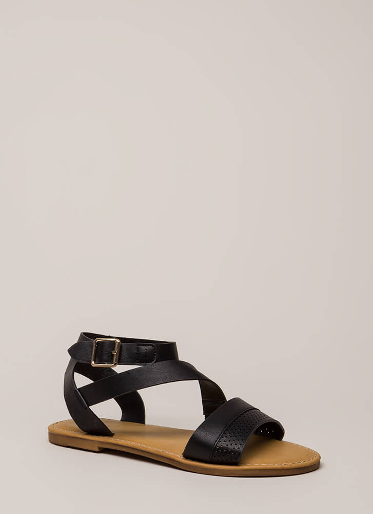 Perfectly Perforated Strappy Sandals BLACK (Final Sale)