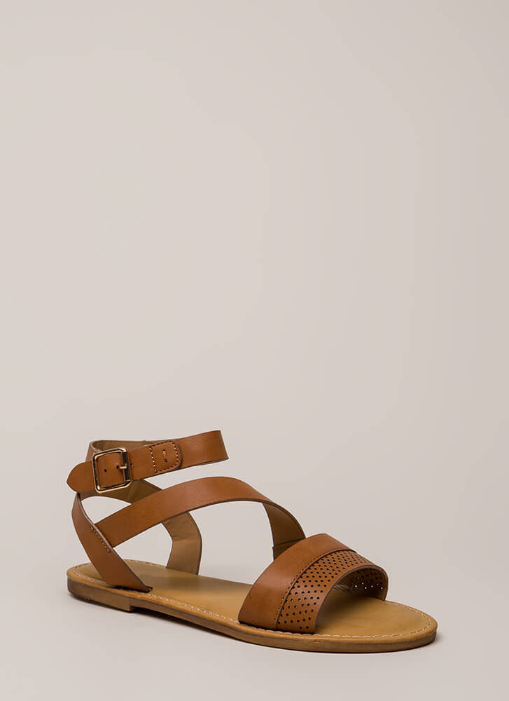 Perfectly Perforated Strappy Sandals TAN