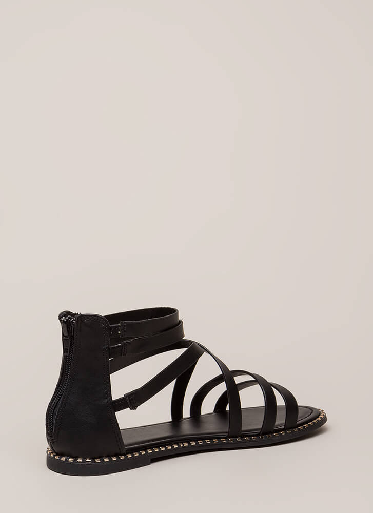 C'Mon Get Strappy Studded Trim Sandals BLACK