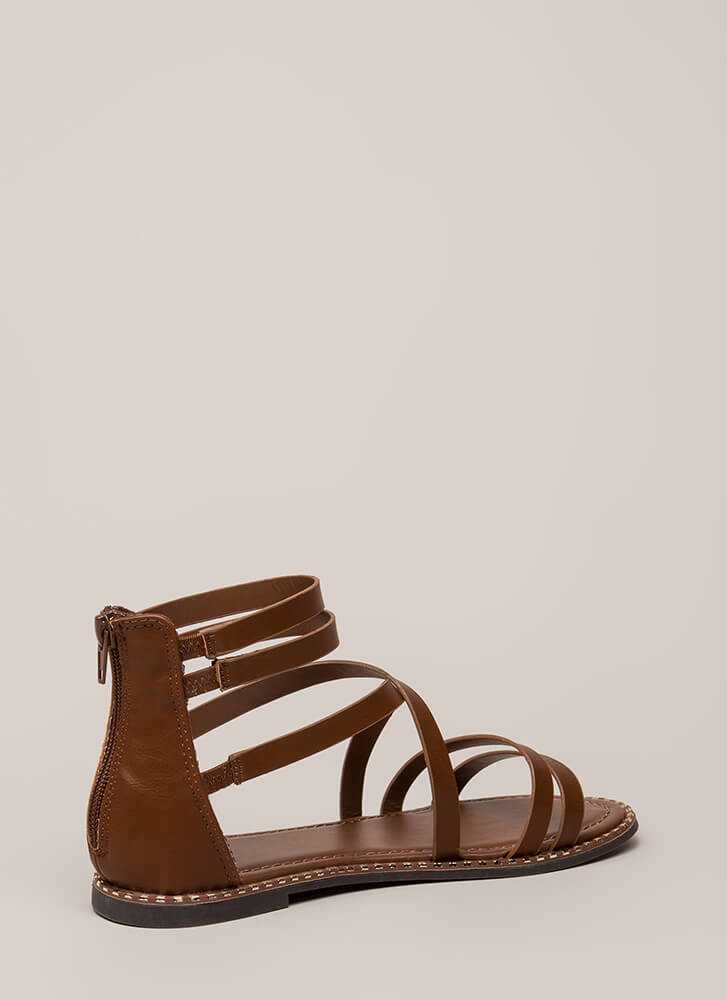 C'Mon Get Strappy Studded Trim Sandals CHESTNUT