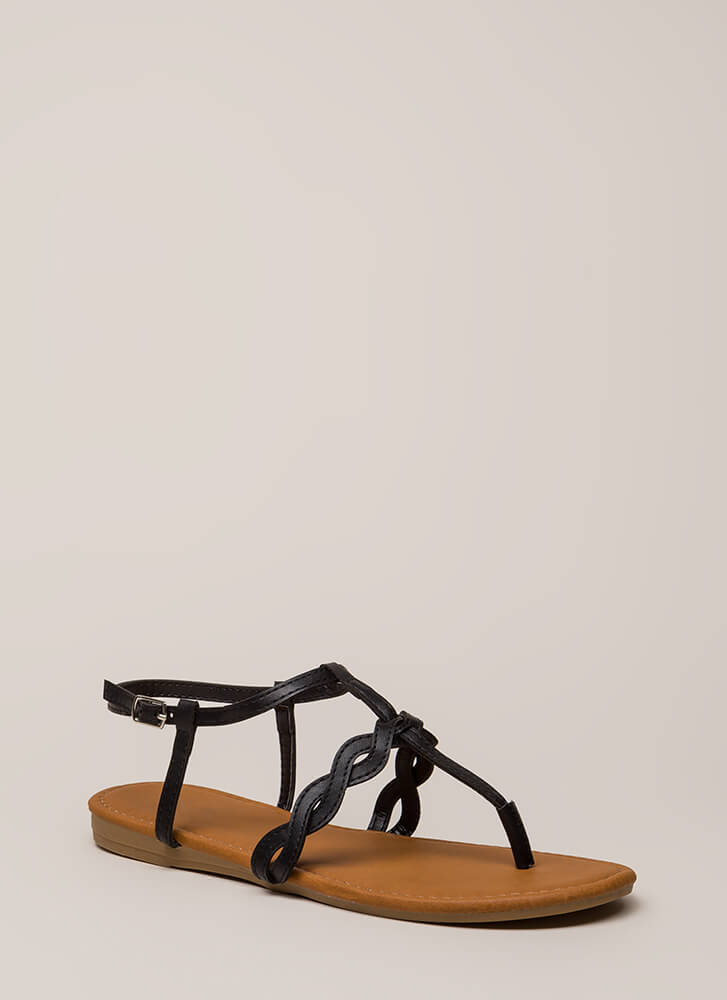With A Little Twist T-Strap Sandals BLACK