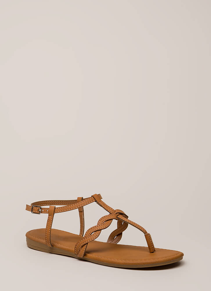 With A Little Twist T-Strap Sandals TAN