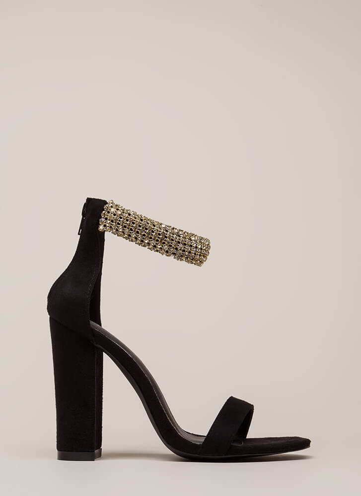 Something Sparkly Jeweled Chunky Heels BLACK