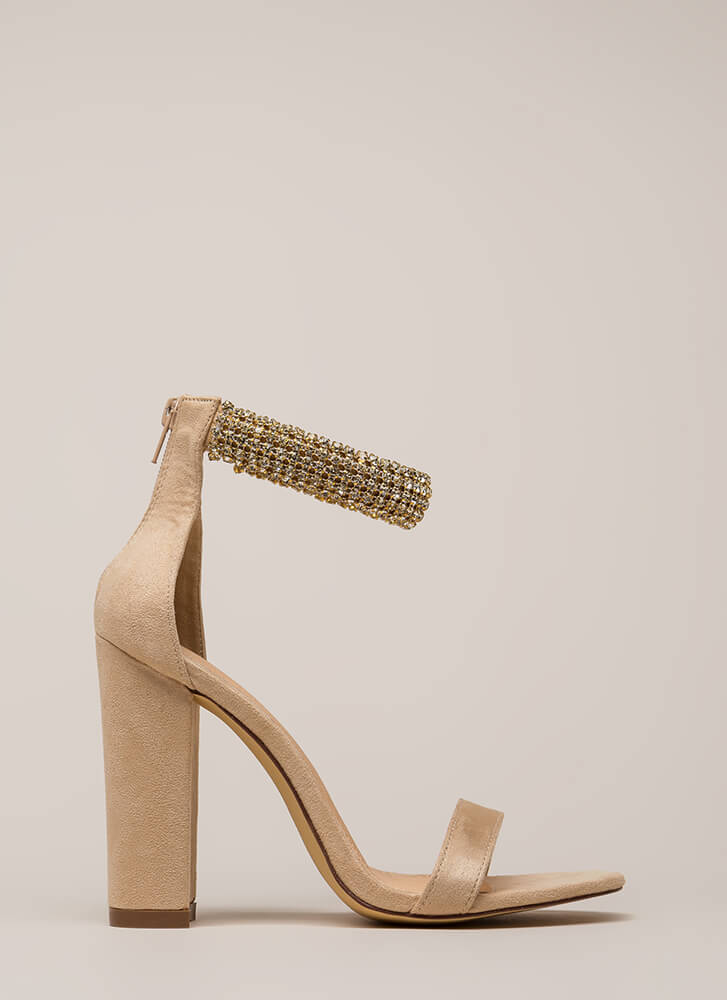 Something Sparkly Jeweled Chunky Heels NUDE