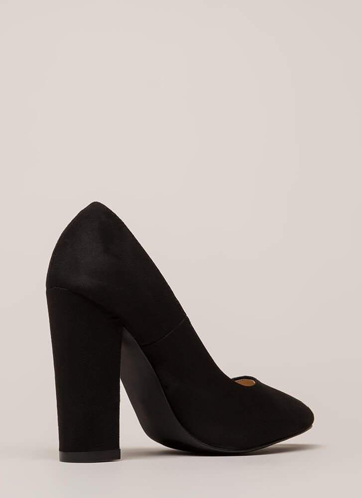 Obvious Choice Chunky Vegan Suede Pumps BLACK