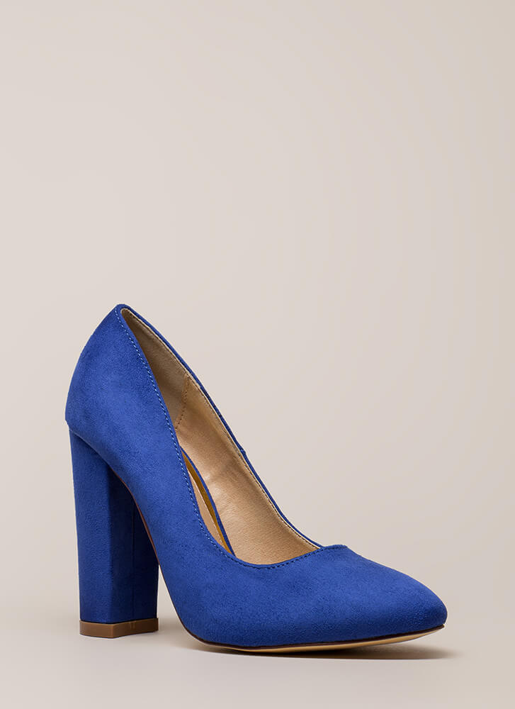 Obvious Choice Chunky Vegan Suede Pumps BLUE