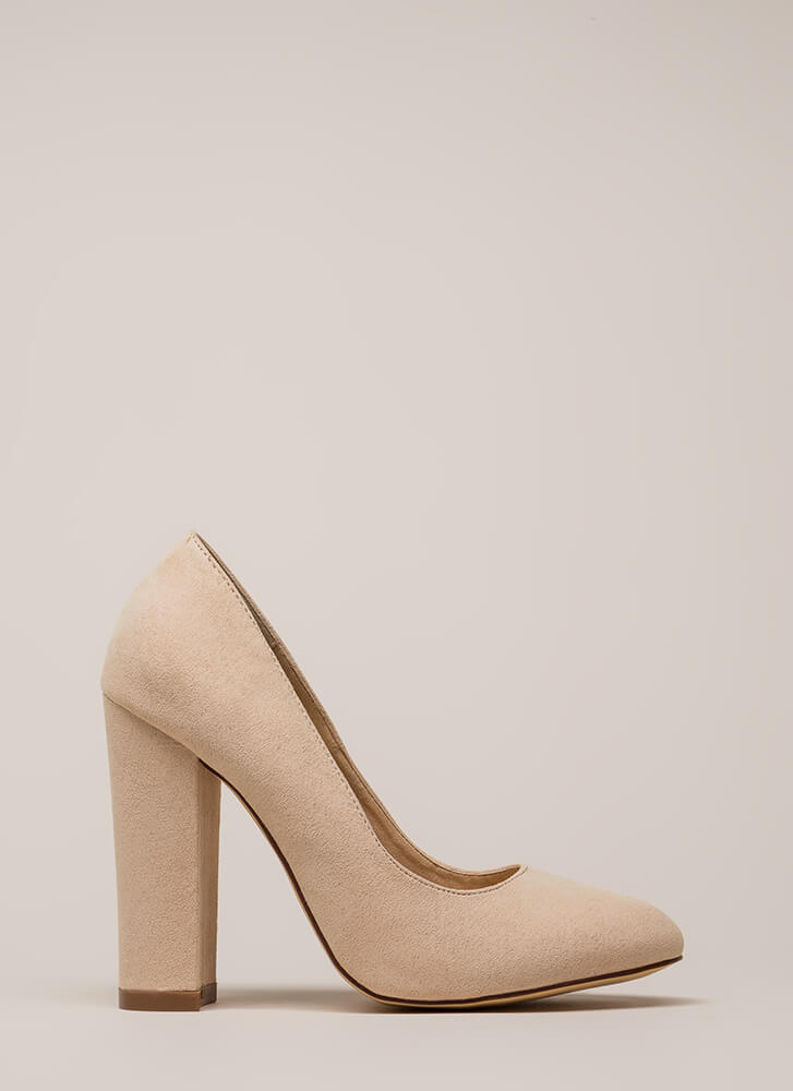Obvious Choice Chunky Vegan Suede Pumps NUDE
