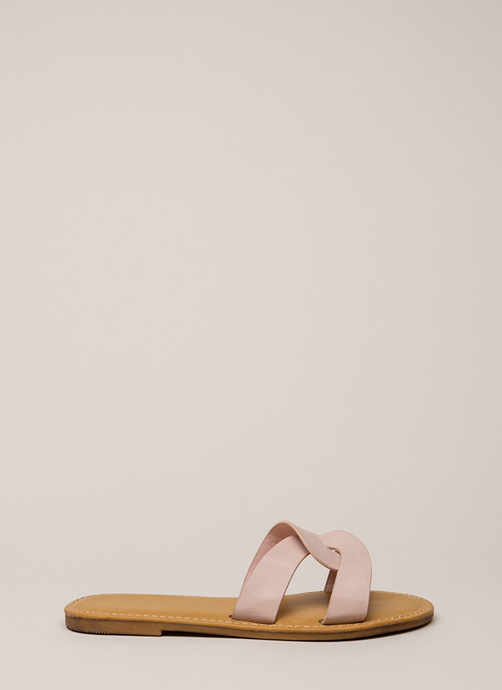 Let's Link Up Looped Slide Sandals BLUSH