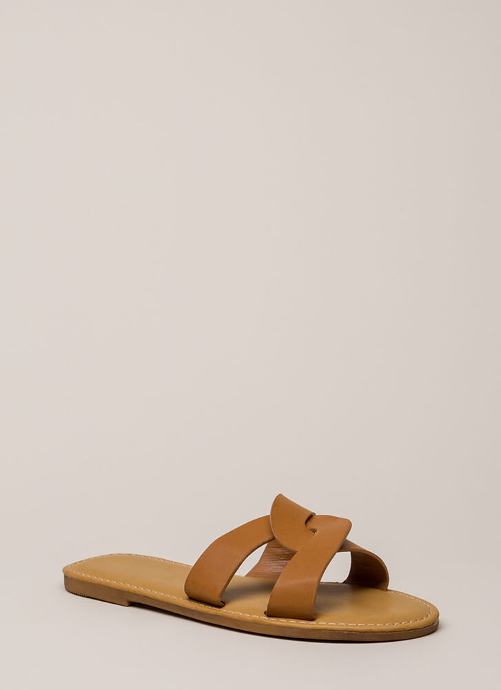 Let's Link Up Looped Slide Sandals TAN