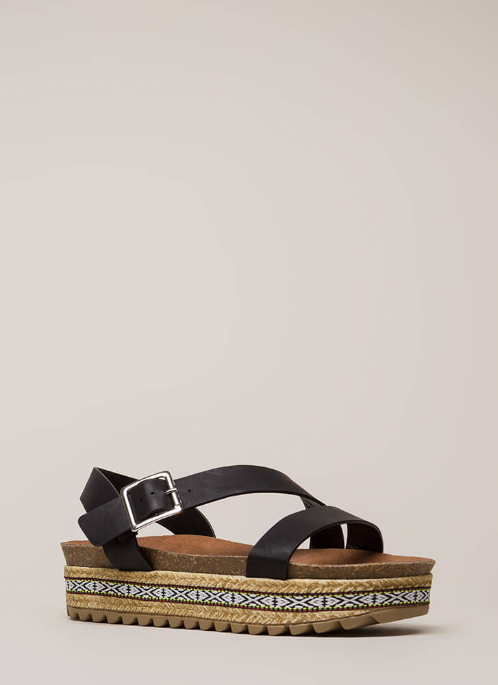 Born Ready Trimmed Platform Sandals BLACK