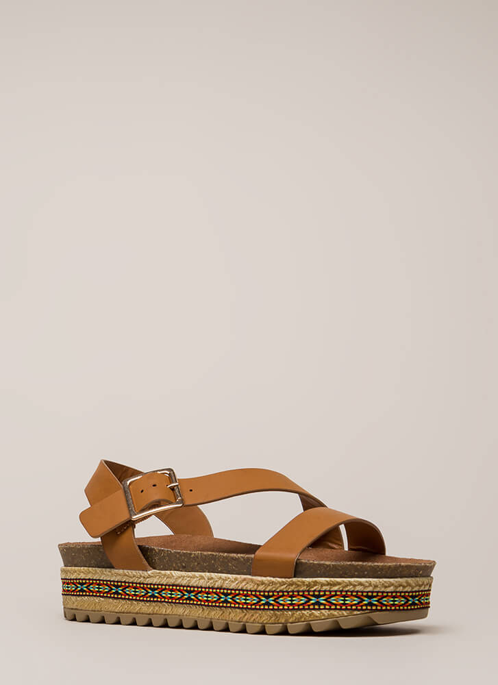 Born Ready Trimmed Platform Sandals TAN
