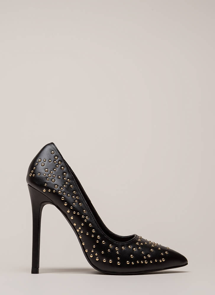 Stud Search Pointy Stiletto Pumps BLACK