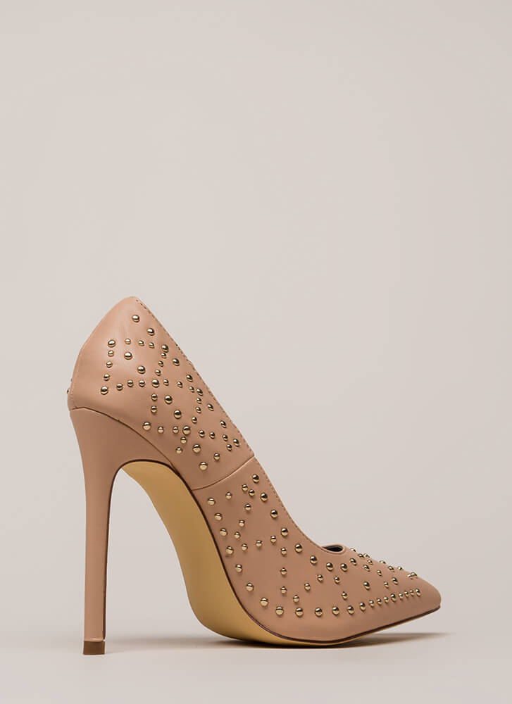Stud Search Pointy Stiletto Pumps NUDE