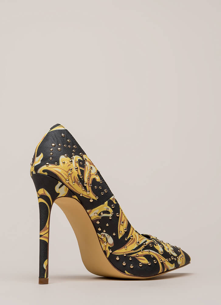 Stud Search Pointy Baroque Pumps MULTI