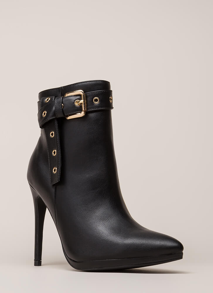 Strap To It Pointy Buckled Booties BLACK