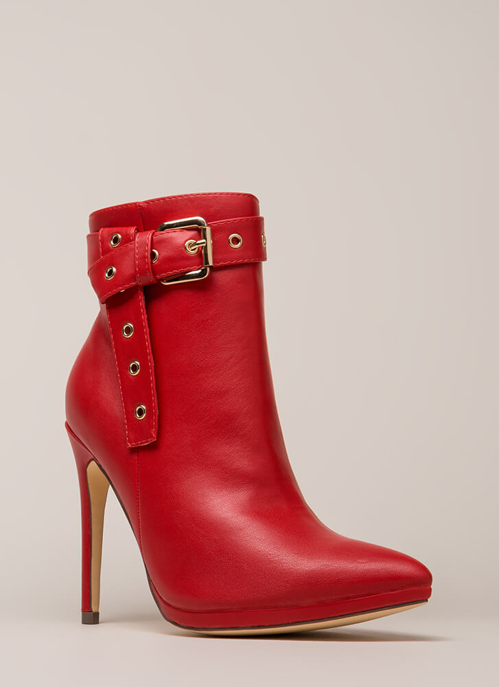 Strap To It Pointy Buckled Booties RED