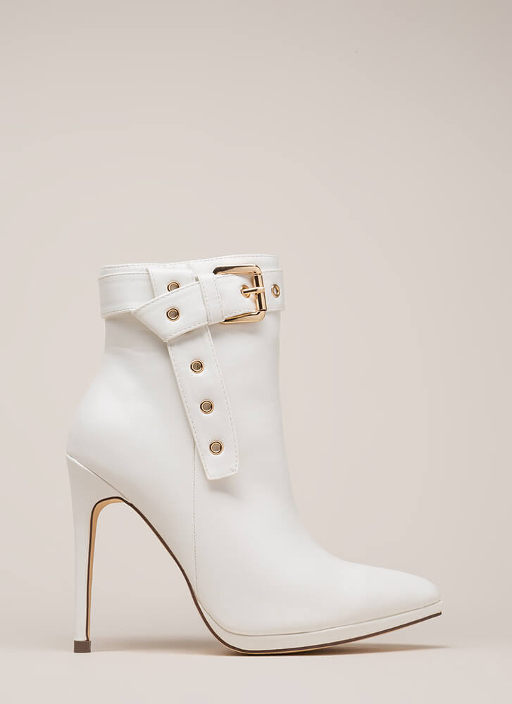 Strap To It Pointy Buckled Booties WHITE