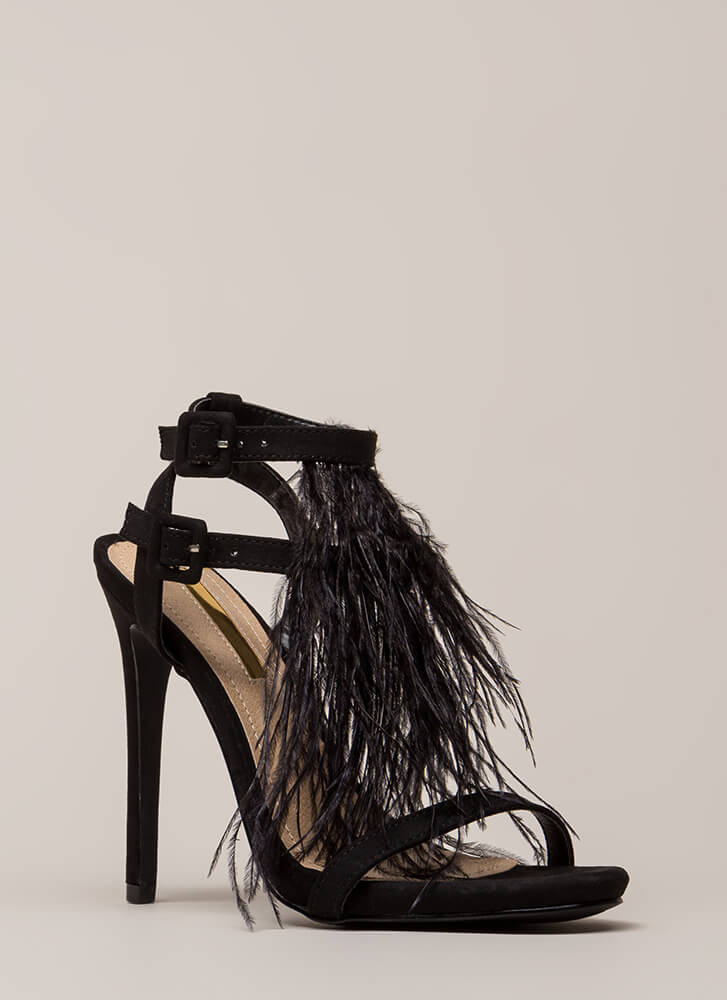Feathered Fringe Strappy Heels BLACK (You Saved $25)