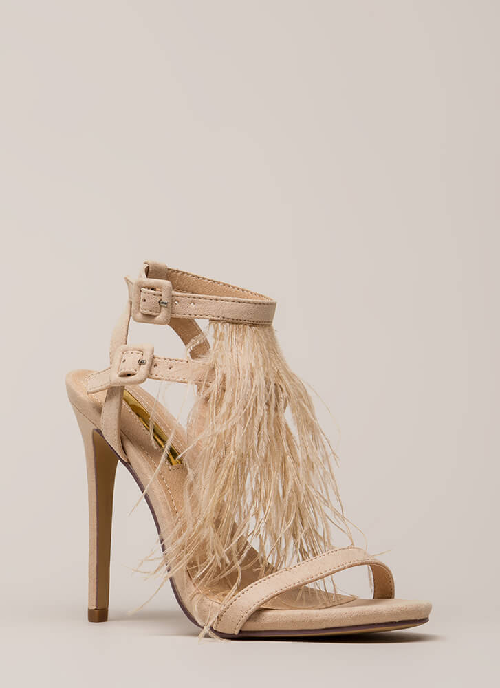 Feathered Fringe Strappy Heels NUDE