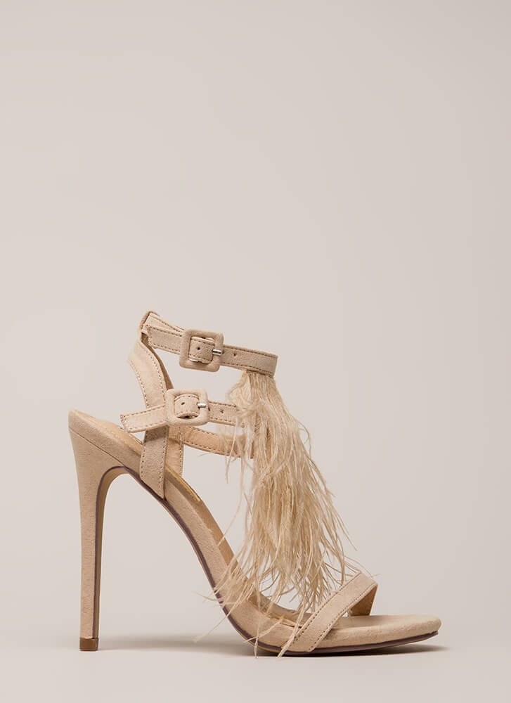 Feathered Fringe Strappy Heels NUDE (You Saved $25)