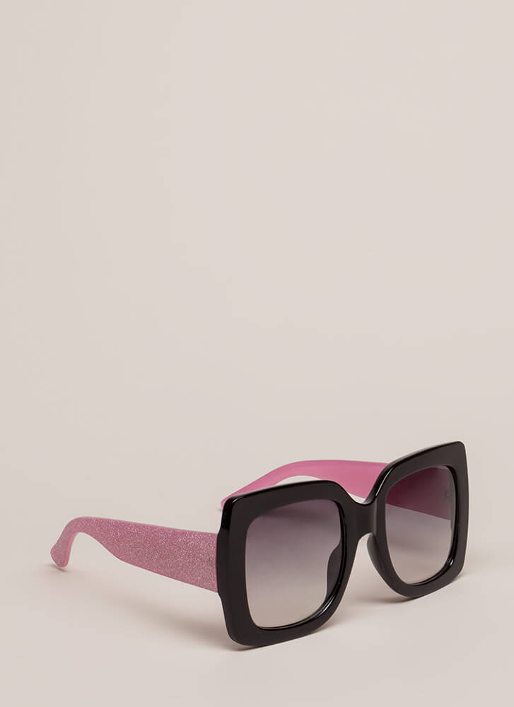 Big News Glittery Square Sunglasses BLACKPINK
