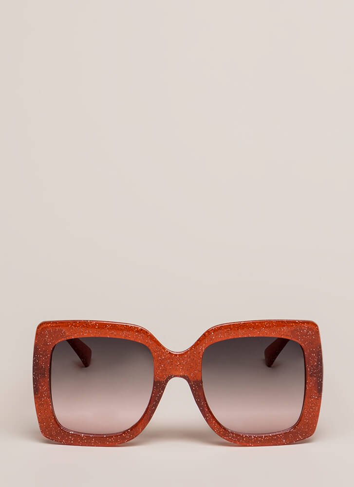 Big News Glittery Square Sunglasses RED