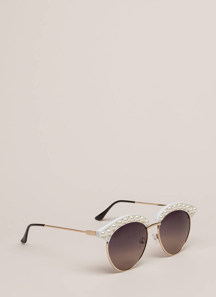 Eye See You Faux Pearl Sunglasses WHITE