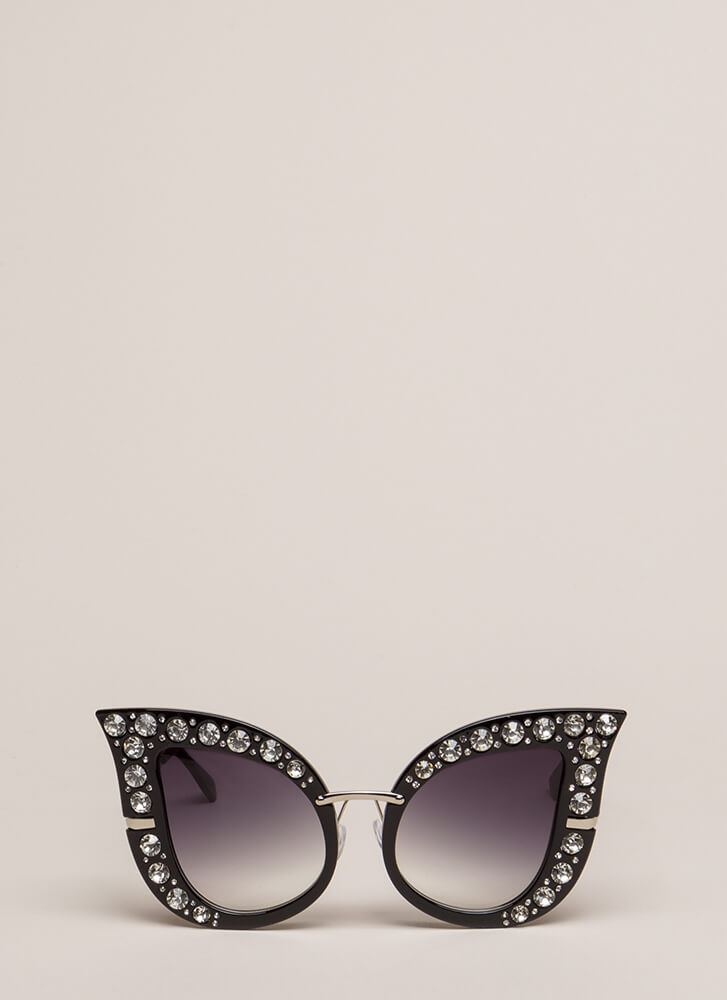 Butterfly In The Sky Jeweled Sunglasses BLACK
