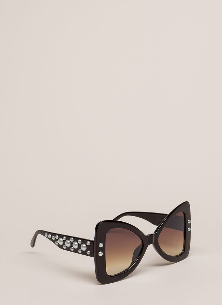 Bow Em Gee Faux Pearl Sunglasses BLACK