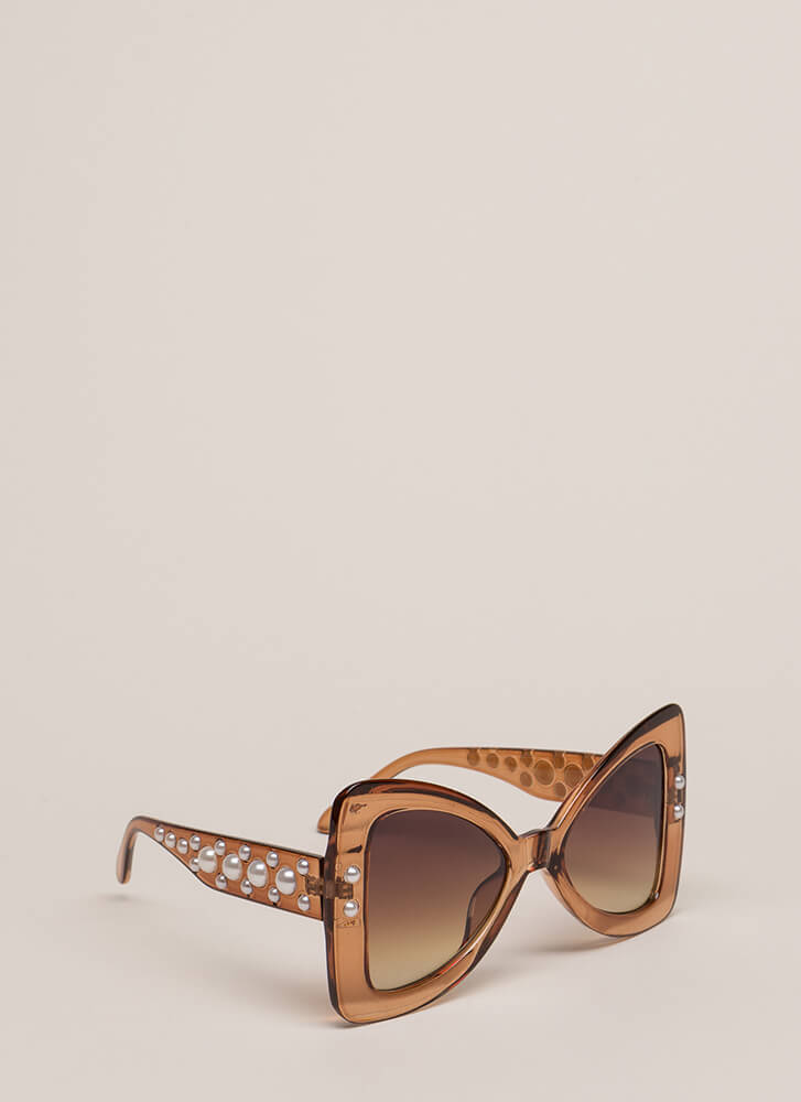 Bow Em Gee Faux Pearl Sunglasses BROWN