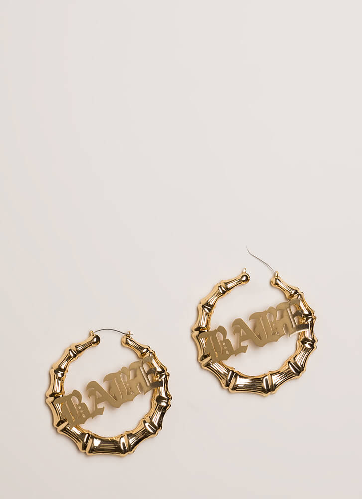 What A Babe Bamboo Hoop Earrings GOLD