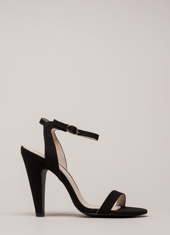 Cone To Pick Strappy Chunky Heels BLACK