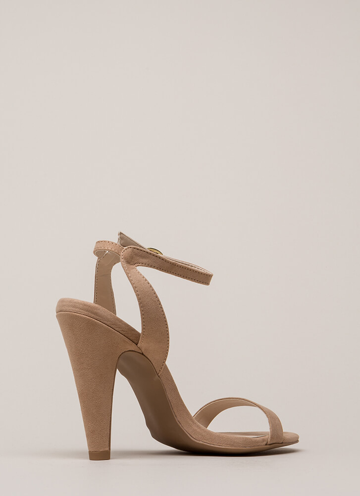 Cone To Pick Strappy Chunky Heels WARMTAUPE