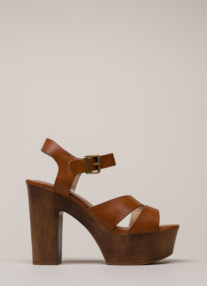 Under The Sun Strappy Chunky Platforms COGNAC