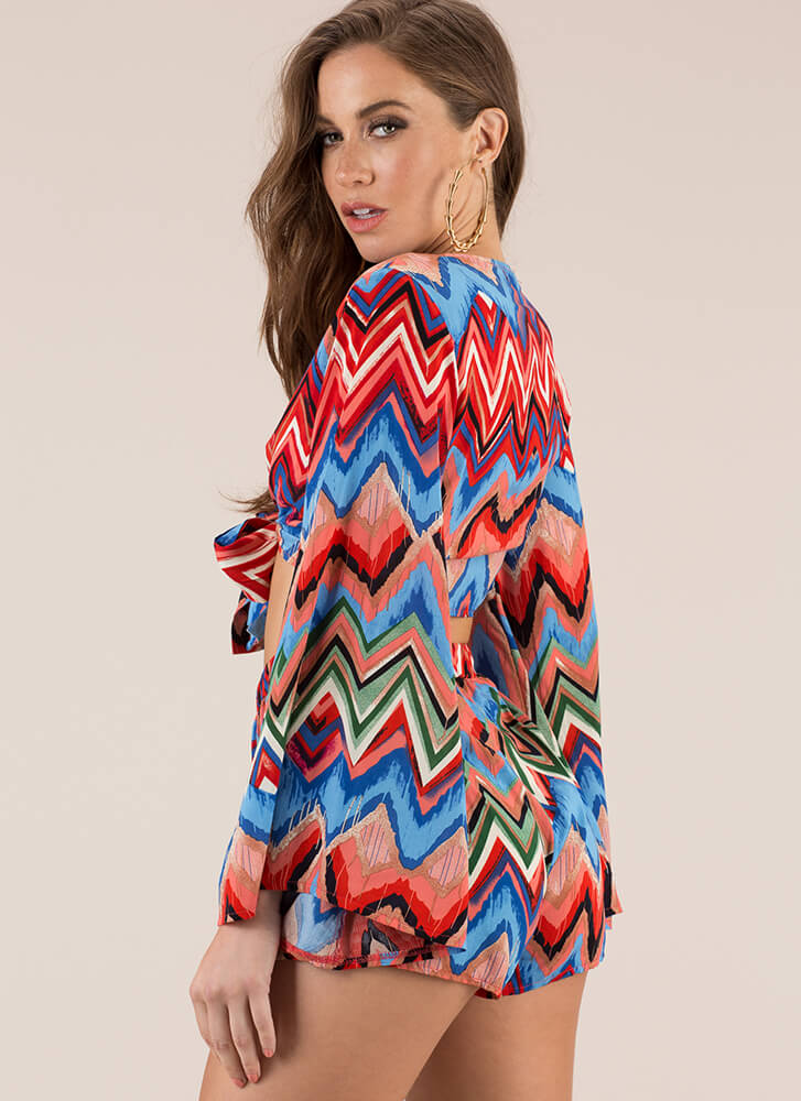 Vintage Vibes Zigzag Top And Shorts Set MULTI
