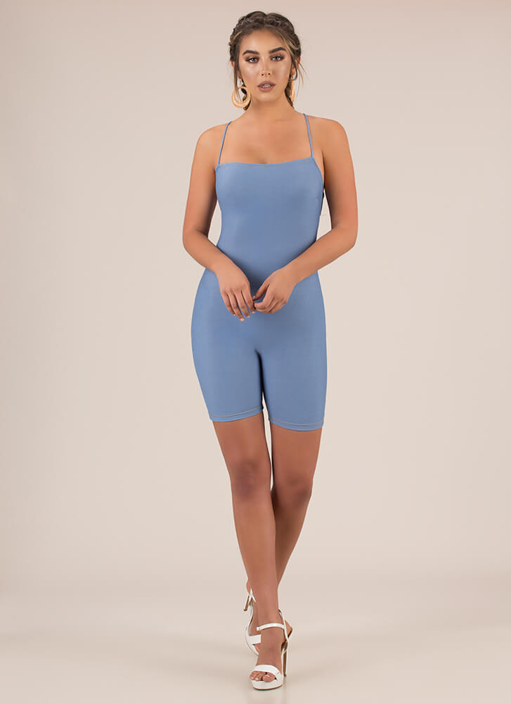 Turn Of Events Lace-Back Romper LTBLUE