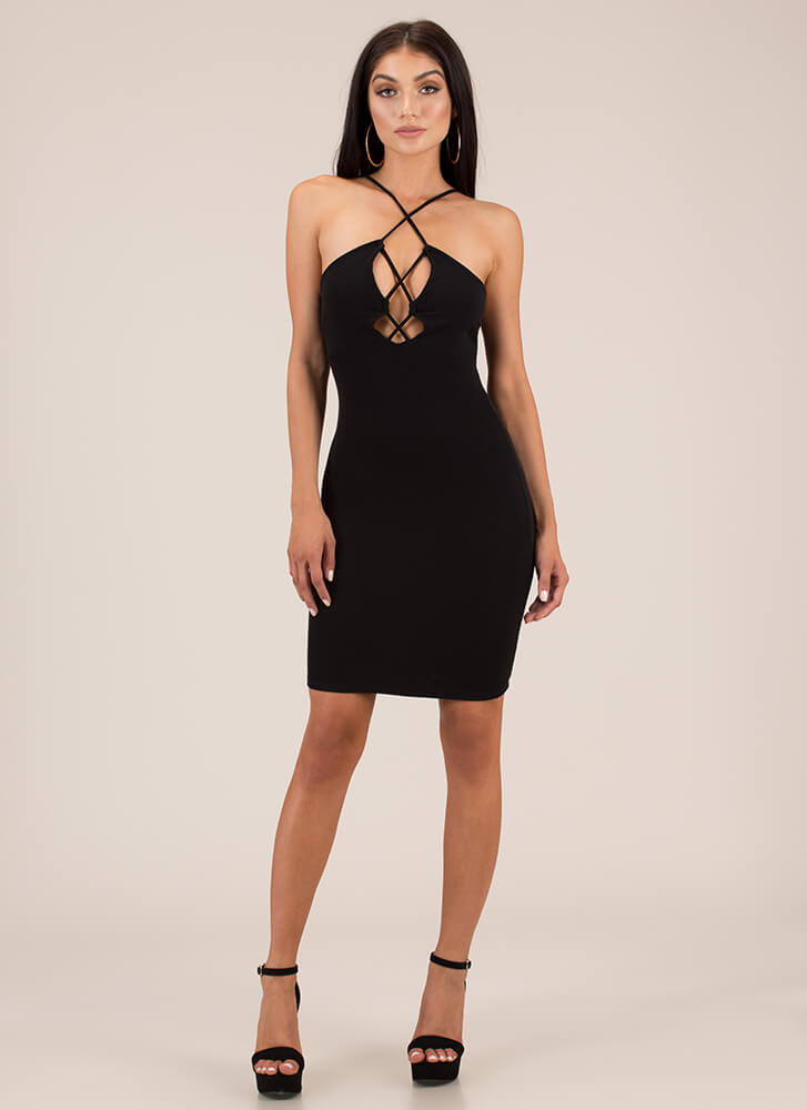Strappily Ever After Cut-Out Midi Dress BLACK