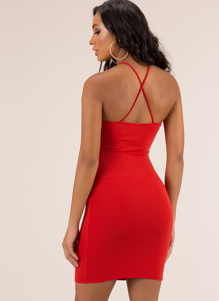 Strappily Ever After Cut-Out Midi Dress RED