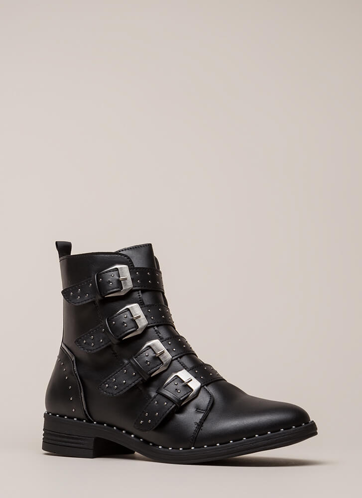 Get The Straps Studded Combat Boots BLACK (Final Sale)