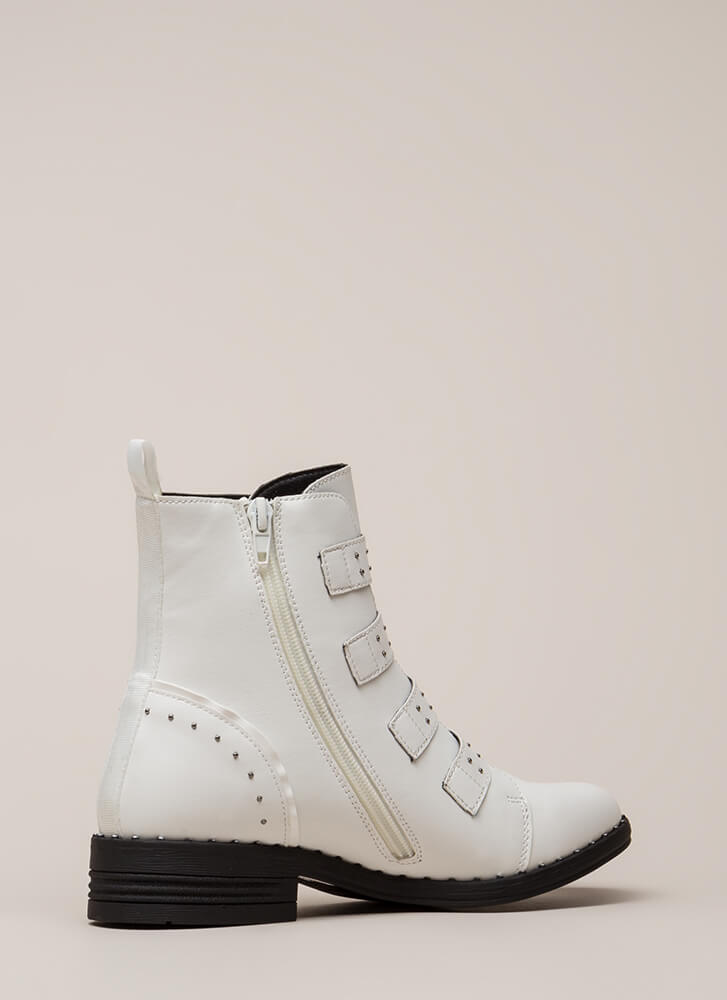 Get The Straps Studded Combat Boots WHITE (Final Sale)