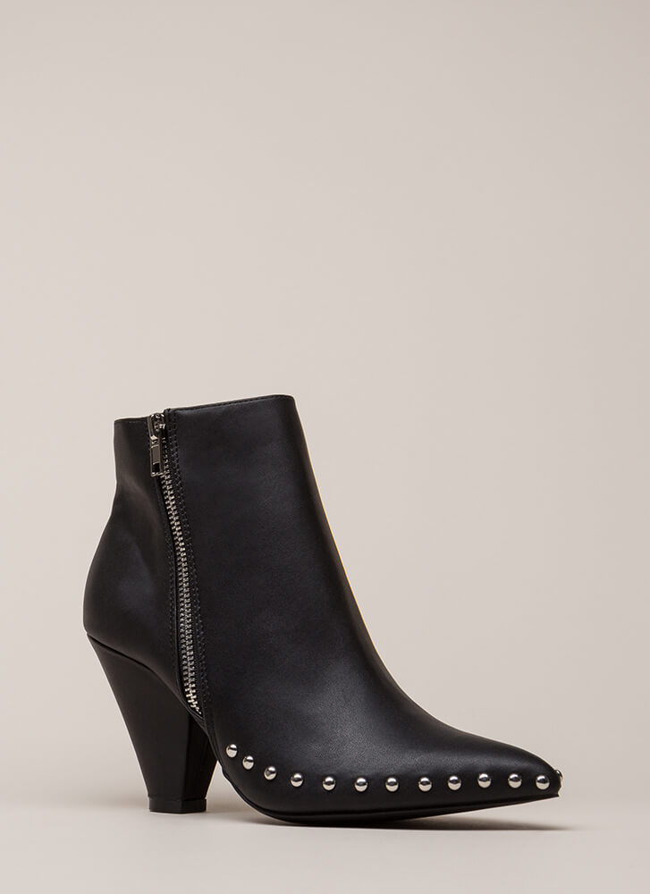 Studded Superstar Cone Heel Booties BLACK